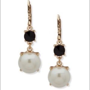 Anne Klein new Pearl Drop and Black Stone Earrings